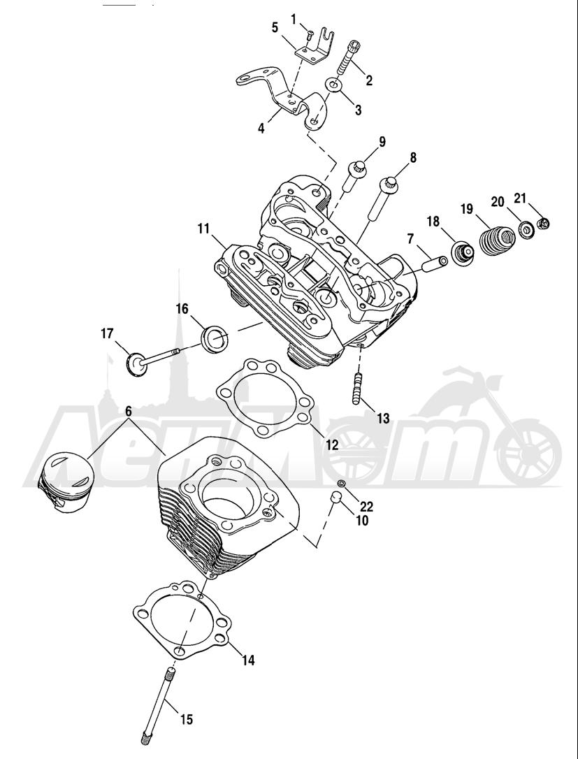 Запчасти для Мотоцикла Harley-Davidson 2005 SPORTSTER® XL 1200C CUSTOM (CG) Раздел: CYLINDERS W/ HEADS AND VALVES   цилиндры вместе с головки и клапаны