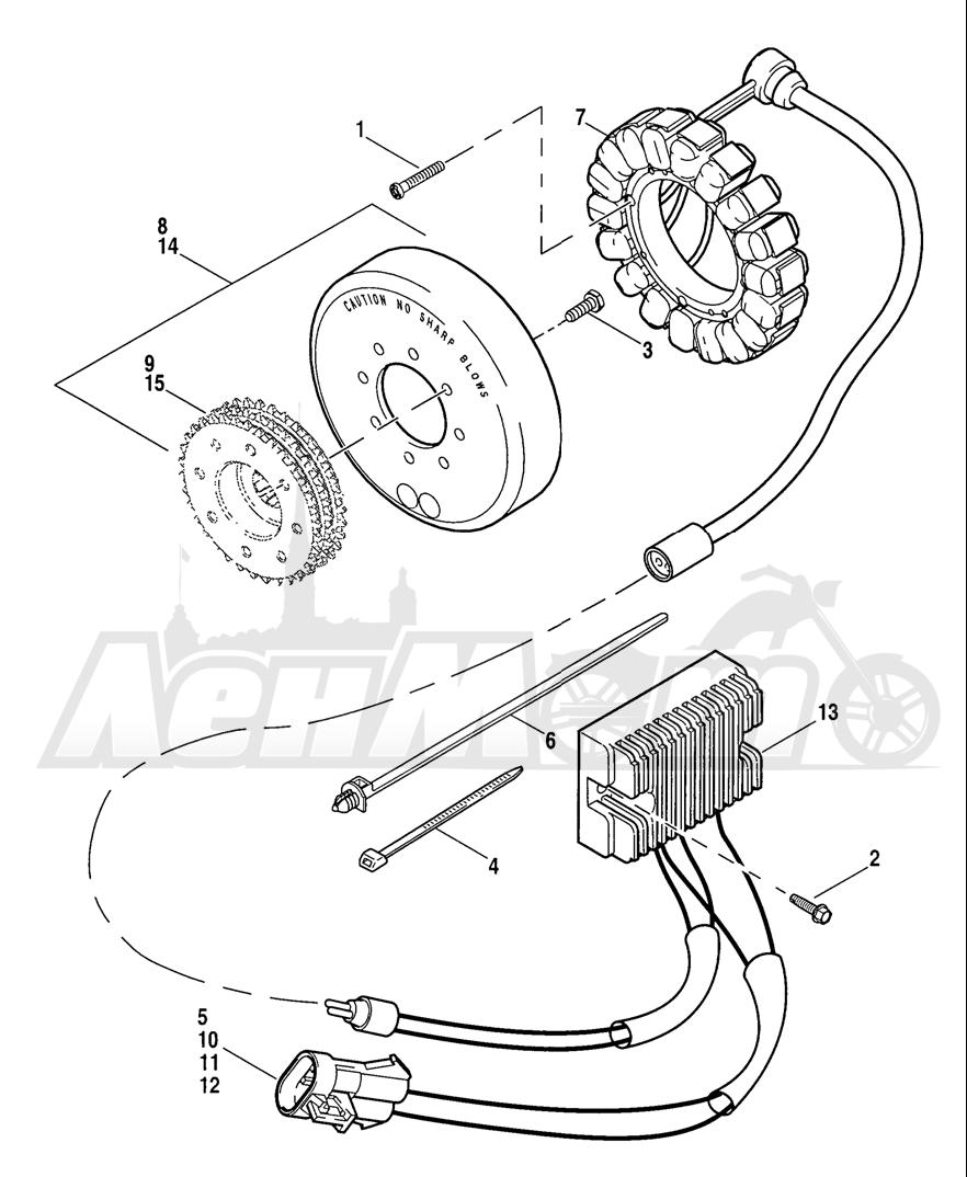 Запчасти для Мотоцикла Harley-Davidson 2005 SPORTSTER® XL 1200C CUSTOM (CG) Раздел: ELECTRICAL - ALTERNATOR W/ VOLTAGE REGULATOR | электрика генератор вместе с регулятор напряжения