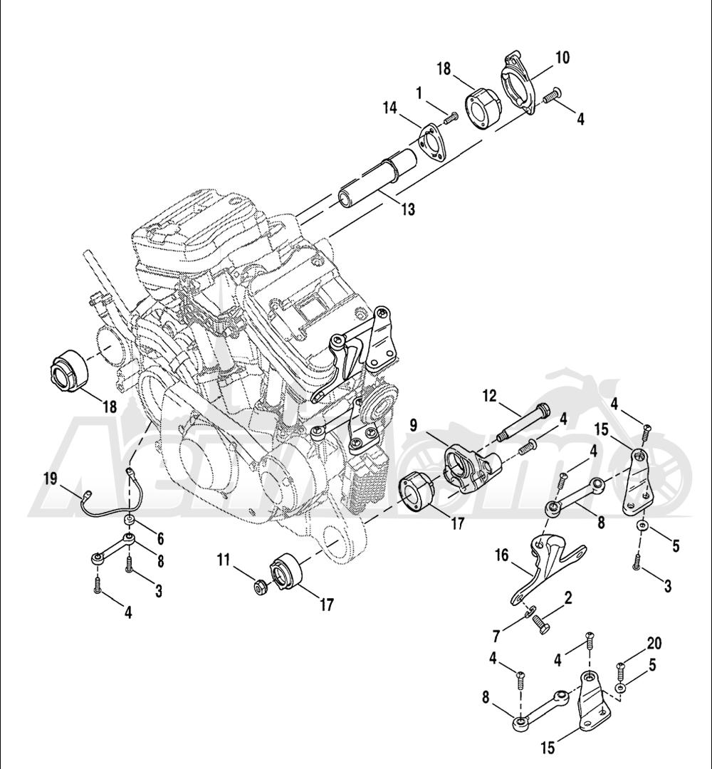 Запчасти для Мотоцикла Harley-Davidson 2005 SPORTSTER® XL 1200C CUSTOM (CG) Раздел: ENGINE MOUNTS | опоры двигателя