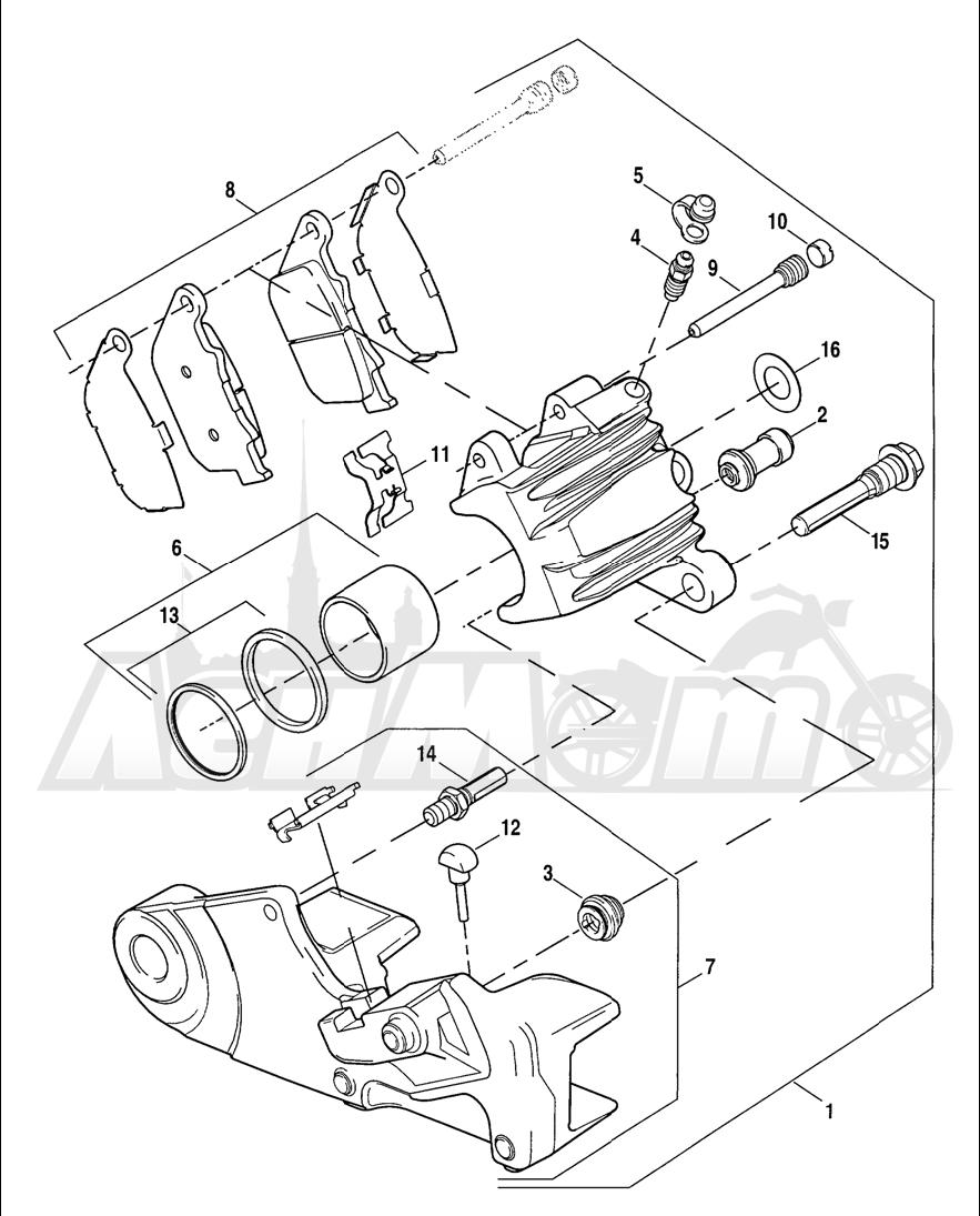 Запчасти для Мотоцикла Harley-Davidson 2005 SPORTSTER® XL 1200C CUSTOM (CG) Раздел: BRAKE - REAR BRAKE CALIPER ASSEMBLY | задний тормоз тормозной суппорт в сборе