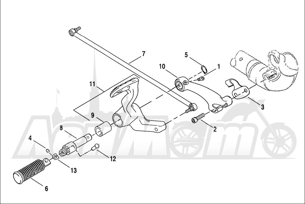 Запчасти для Мотоцикла Harley-Davidson 2005 SPORTSTER® XL 1200C CUSTOM (CG) Раздел: BRAKE - REAR BRAKE CYLINDER W/ PEDAL | задний тормоз тормоза цилиндр вместе с педаль