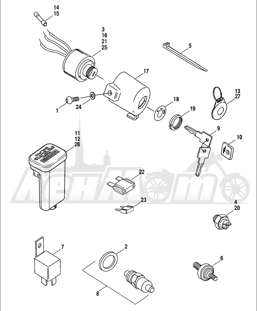Запчасти для Мотоцикла Harley-Davidson 2005 SPORTSTER® XL 1200C CUSTOM (CG) Раздел: ELECTRICAL - SWITCHES W/ CIRCUIT BREAKERS | электрика выключатели, переключатели вместе с автоматические выключатели
