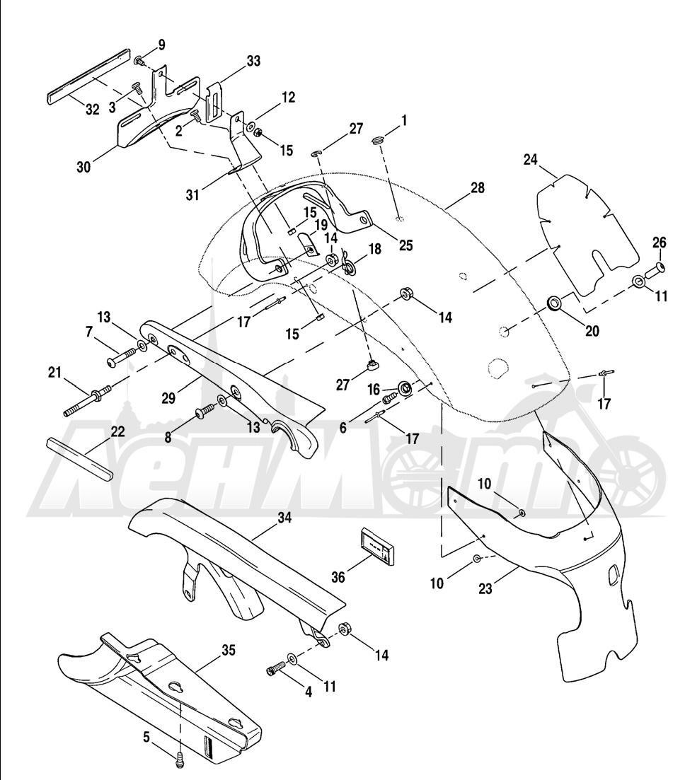 Запчасти для Мотоцикла Harley-Davidson 2005 SPORTSTER® XL 1200C CUSTOM (CG) Раздел: FENDER - REAR W/ SUPPORTS AND BELT GUARD | заднее крыло вместе с кронштейны и защита ремня
