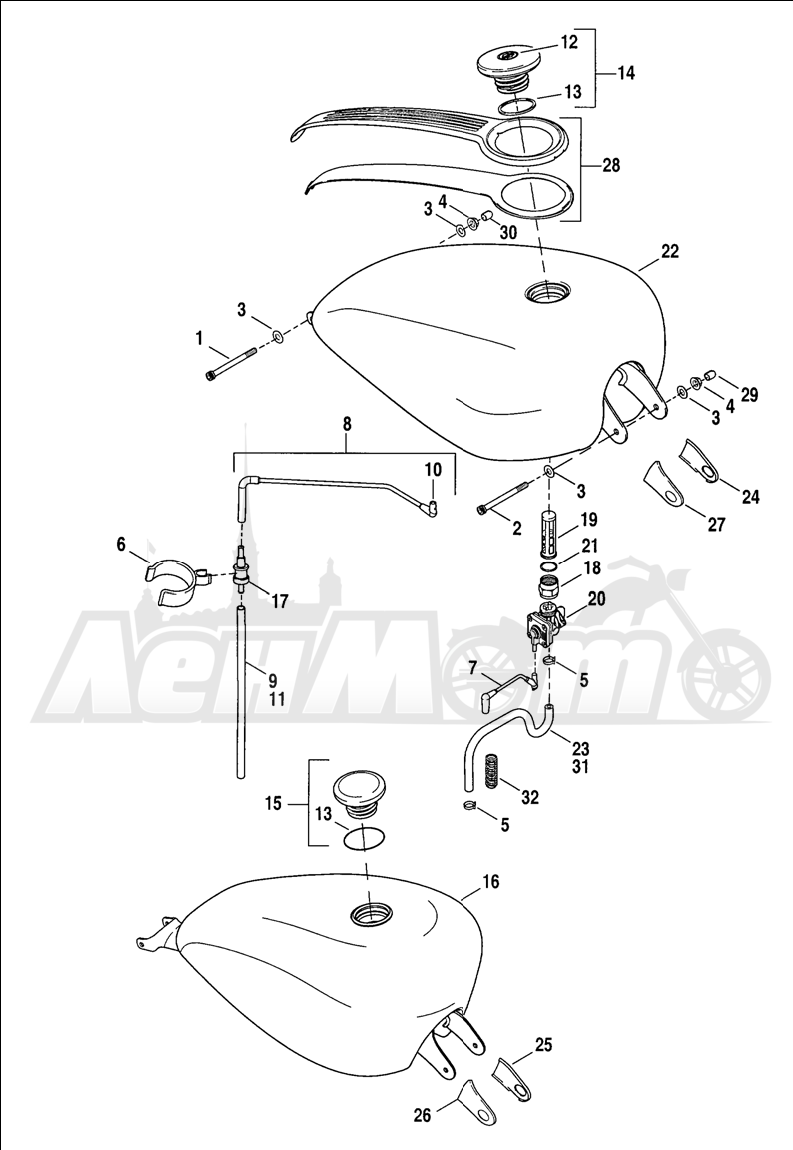 Запчасти для Мотоцикла Harley-Davidson 2005 SPORTSTER® XL 1200C CUSTOM (CG) Раздел: FUEL TANK ASSEMBLY | топливный бак в сборе