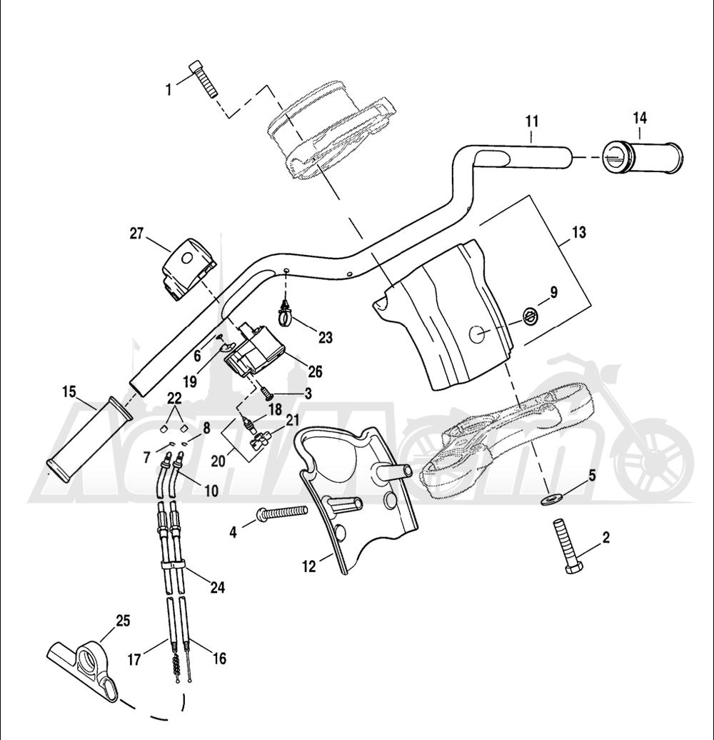Запчасти для Мотоцикла Harley-Davidson 2005 SPORTSTER® XL 1200C CUSTOM (CG) Раздел: HANDLEBAR W/ THROTTLE CONTROL | руль вместе с дроссель управление