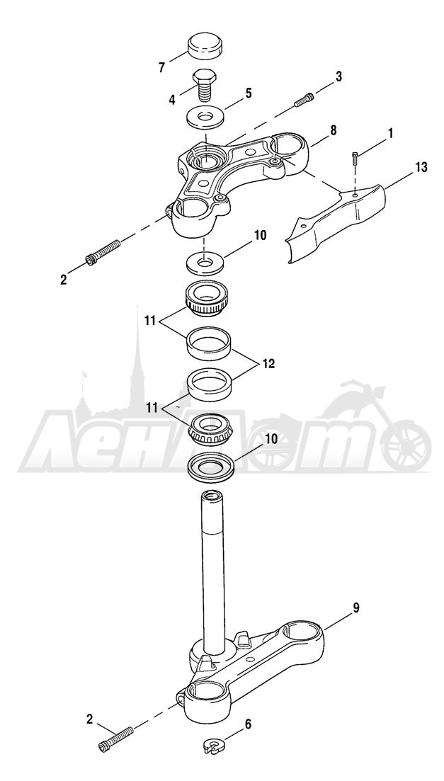 Запчасти для Мотоцикла Harley-Davidson 2005 SPORTSTER® XL 1200C CUSTOM (CG) Раздел: STEERING STEM | рулевое управление стойка