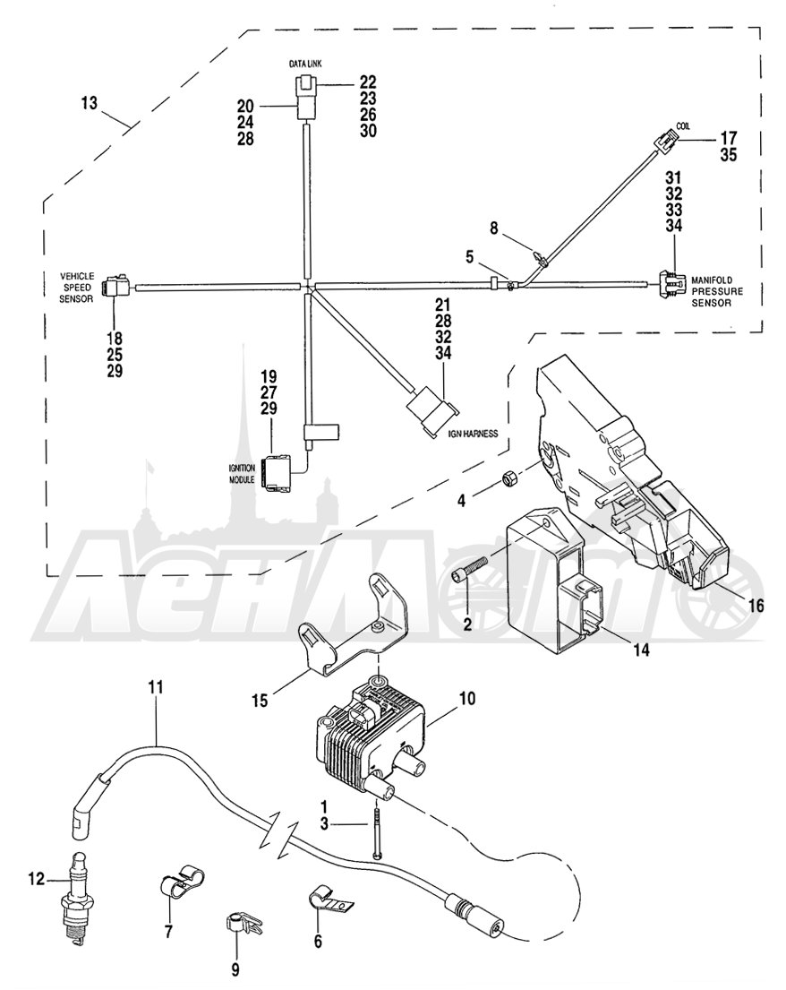 Запчасти для Мотоцикла Harley-Davidson 2004 FLHR ROAD KING® Раздел: ELECTRICAL - ELECTRONIC CONTROL MODULE W/ COIL ASSEMBLY | электрика электронный управление модуль вместе с катушка в сборе