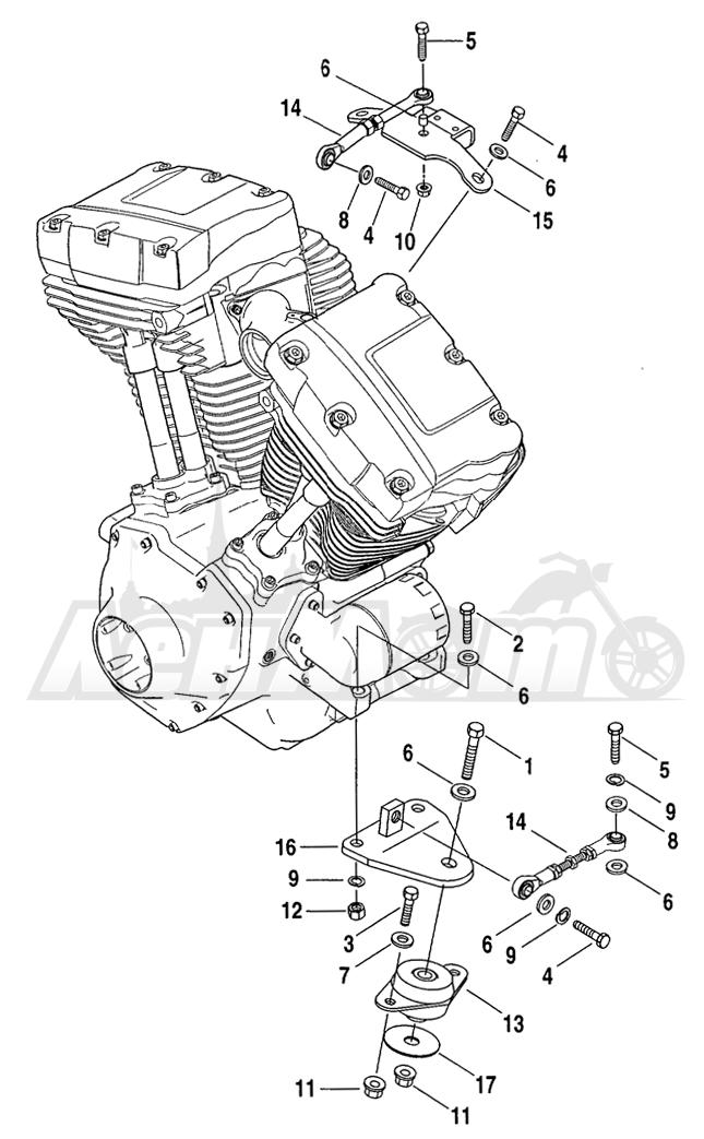 Запчасти для Мотоцикла Harley-Davidson 2004 FLHR ROAD KING® Раздел: ENGINE MOUNTS W/ STABILIZER LINK | опоры двигателя вместе с стабилизатор