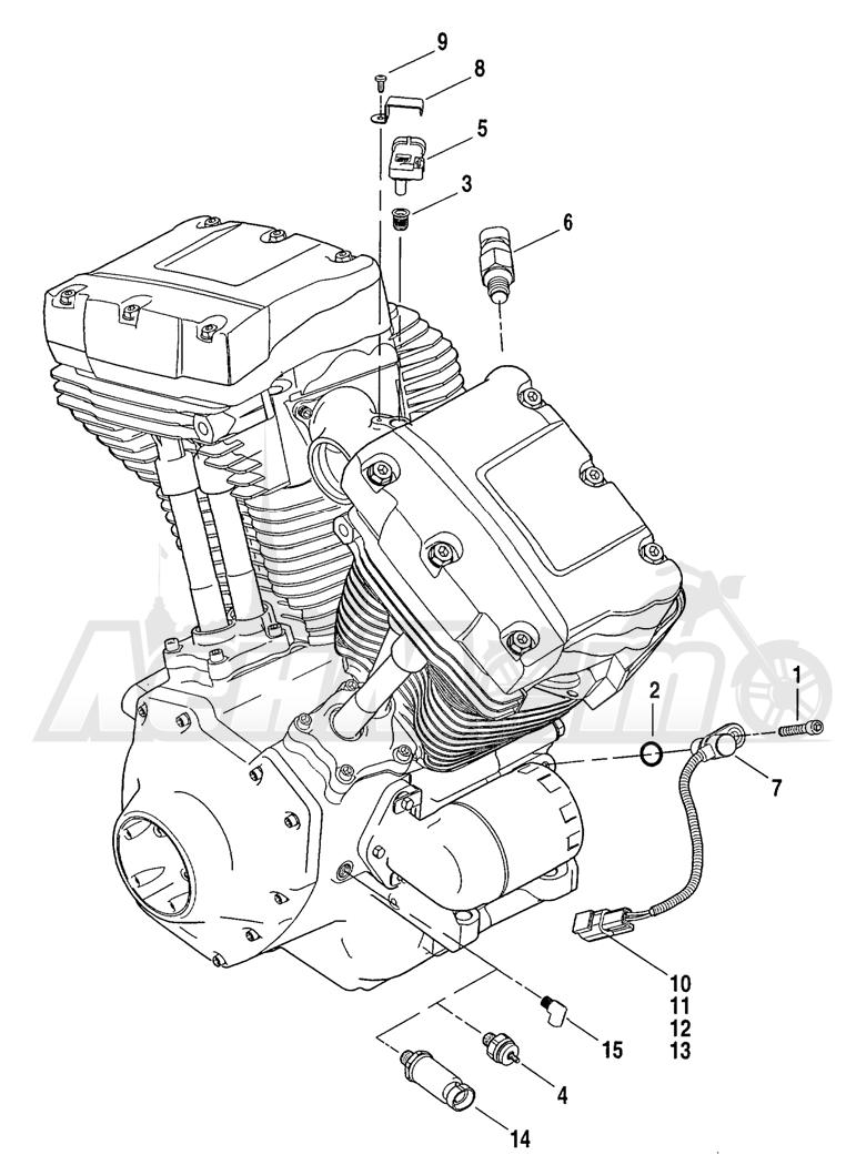 Запчасти для Мотоцикла Harley-Davidson 2004 FLHR ROAD KING® Раздел: ENGINE SENSORS W/ SWITCHES | двигатель датчики вместе с выключатели, переключатели