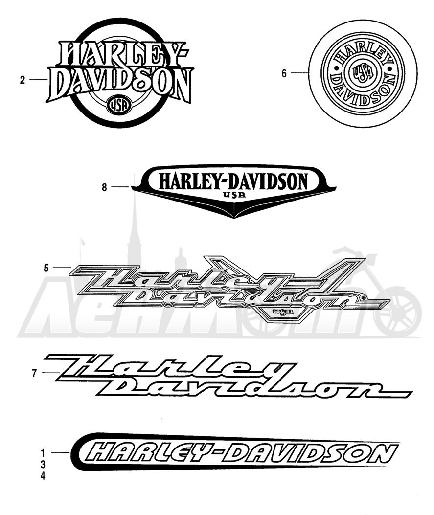 Запчасти для Мотоцикла Harley-Davidson 2004 FLHR ROAD KING® Раздел: FUEL TANK DECALS AND NAME PLATES | топливный бак наклейки и фирменные таблички