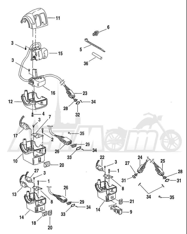Запчасти для Мотоцикла Harley-Davidson 2004 FLHR ROAD KING® Раздел: HANDLEBAR SWITCHES - LEFT HAND | руль выключатели, переключатели левая рука
