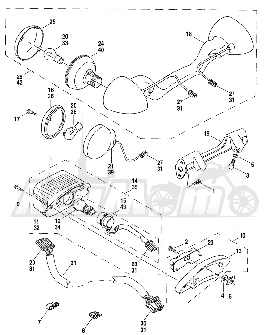 Запчасти для Мотоцикла Harley-Davidson 2004 FLHR ROAD KING® Раздел: TAIL LAMP W/ REAR TURN SIGNALS | TAIL лампа вместе с зад сигналы поворота