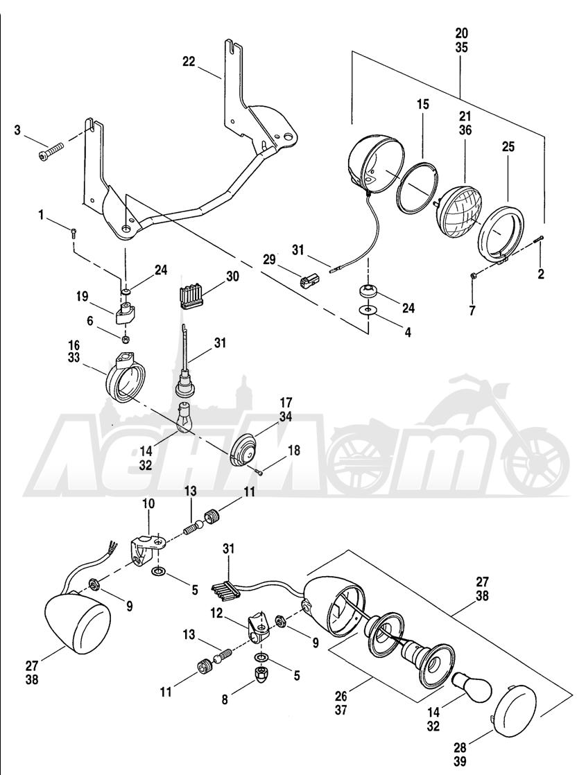 Запчасти для Мотоцикла Harley-Davidson 2004 FLHR ROAD KING® Раздел: TURN SIGNALS - FRONT   сигналы поворота перед