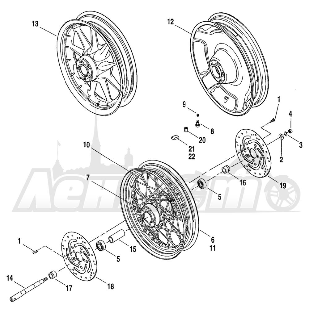 Запчасти для Мотоцикла Harley-Davidson 2004 FLHR ROAD KING® Раздел: WHEEL - FRONT WHEEL ASSEMBLY W/ BRAKE DISK   переднее колесо колесо в сборе вместе с тормозной диск