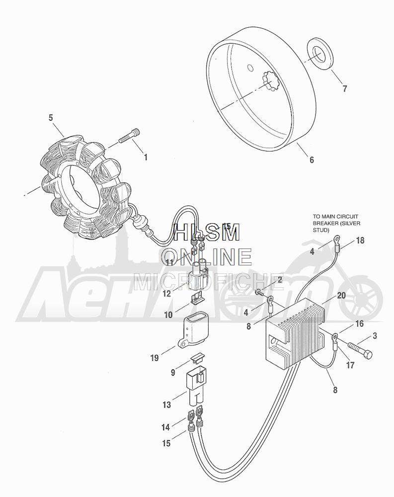 Запчасти для Мотоцикла Harley-Davidson 2001 FXDWG DYNA® WIDE GLIDE (GE) Раздел: ELECTRICAL - ALTERNATOR W/ VOLTAGE REGULATOR | электрика генератор вместе с регулятор напряжения