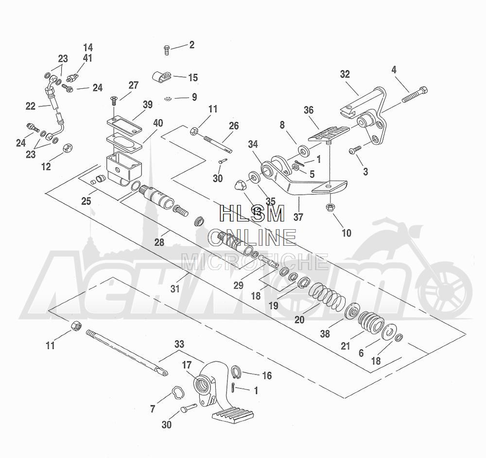 Запчасти для Мотоцикла Harley-Davidson 2001 FXDWG DYNA® WIDE GLIDE (GE) Раздел: BRAKE - REAR BRAKE CYLINDER W/ PEDAL | задний тормоз тормоза цилиндр вместе с педаль