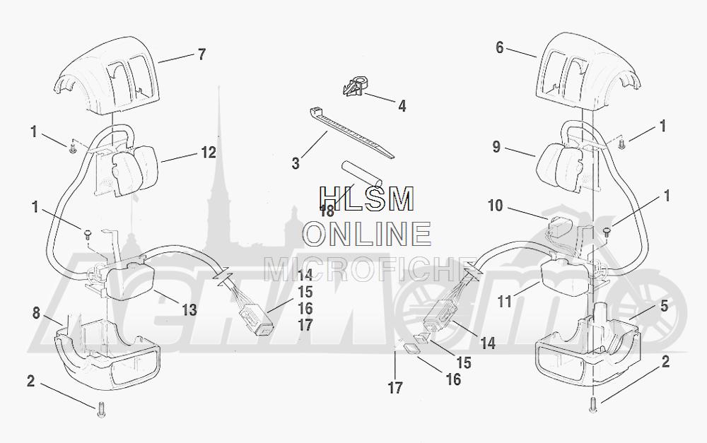 Запчасти для Мотоцикла Harley-Davidson 2001 FXDWG DYNA® WIDE GLIDE (GE) Раздел: ELECTRICAL - HANDLEBAR SWITCH ASSEMBLIES | электрика руль переключатель в сборе