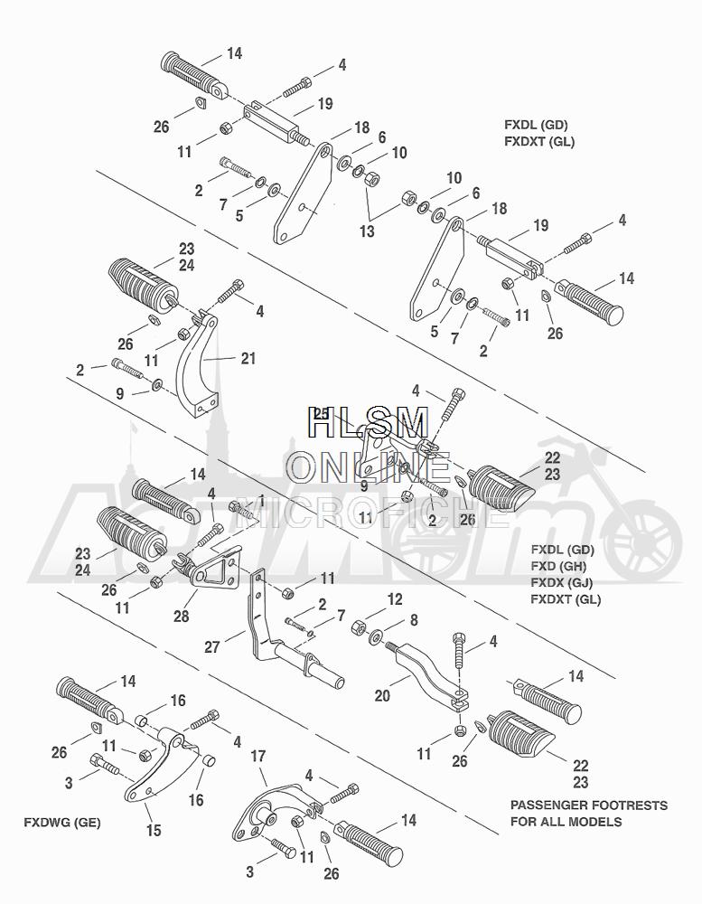 Запчасти для Мотоцикла Harley-Davidson 2001 FXDWG DYNA® WIDE GLIDE (GE) Раздел: FOOTRESTS ASSEMBLY | подножки в сборе