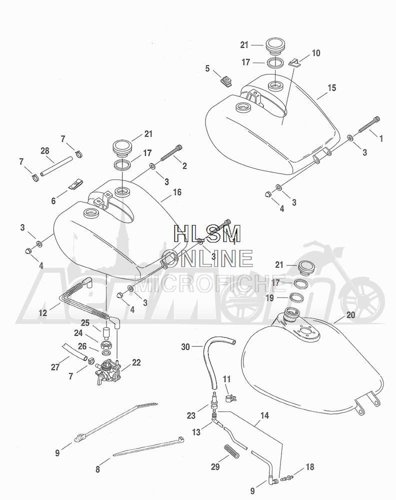Запчасти для Мотоцикла Harley-Davidson 2001 FXDWG DYNA® WIDE GLIDE (GE) Раздел: FUEL TANK ASSEMBLY   топливный бак в сборе