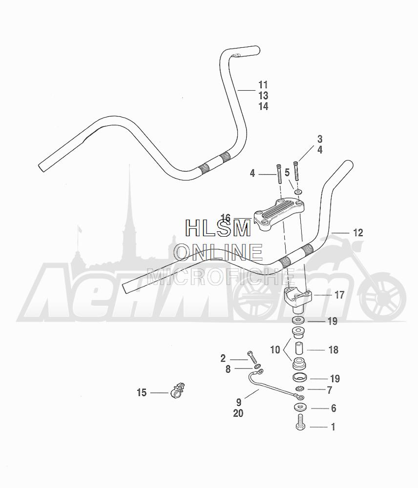 Запчасти для Мотоцикла Harley-Davidson 2001 FXDWG DYNA® WIDE GLIDE (GE) Раздел: HANDLEBAR ASSEMBLY | руль в сборе