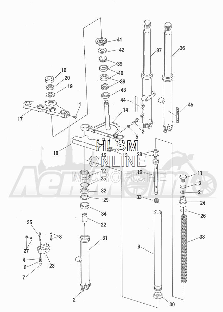 Запчасти для Мотоцикла Harley-Davidson 2001 FXDWG DYNA® WIDE GLIDE (GE) Раздел: SUSPENSION - FRONT FORK ASSEMBLY W/ STEERING STEM | передняя подвеска вилка в сборе вместе с рулевое управление стойка