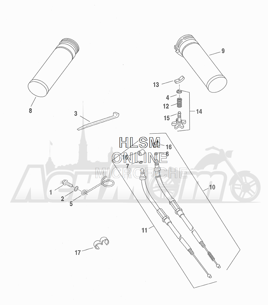 Запчасти для Мотоцикла Harley-Davidson 2001 FXDWG DYNA® WIDE GLIDE (GE) Раздел: THROTTLE CONTROL ASSEMBLY W/ GRIPS | дроссель управление в сборе вместе с ручки