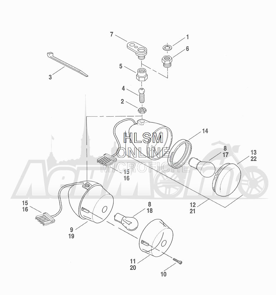 Запчасти для Мотоцикла Harley-Davidson 2001 FXDWG DYNA® WIDE GLIDE (GE) Раздел: TURN SIGNALS - FRONT | сигналы поворота перед