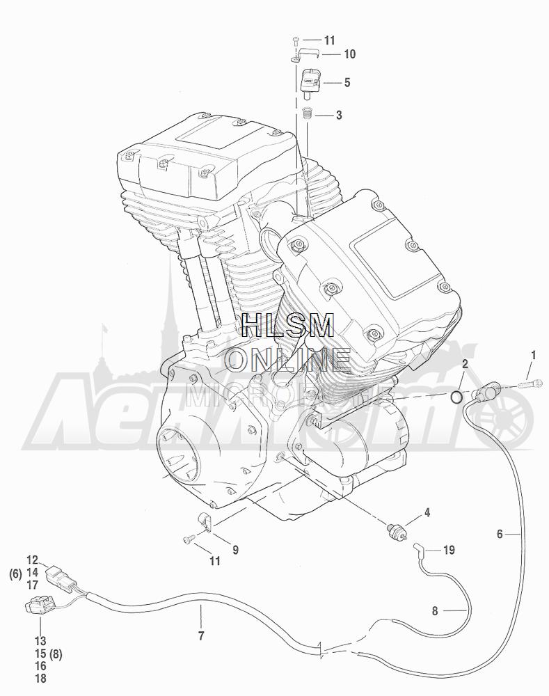 Запчасти для Мотоцикла Harley-Davidson 2001 FXDX DYNA® A SUPER GLIDE SPORT (GJ) Раздел: ENGINE SENSORS W/ SWITCHES | двигатель датчики вместе с выключатели, переключатели