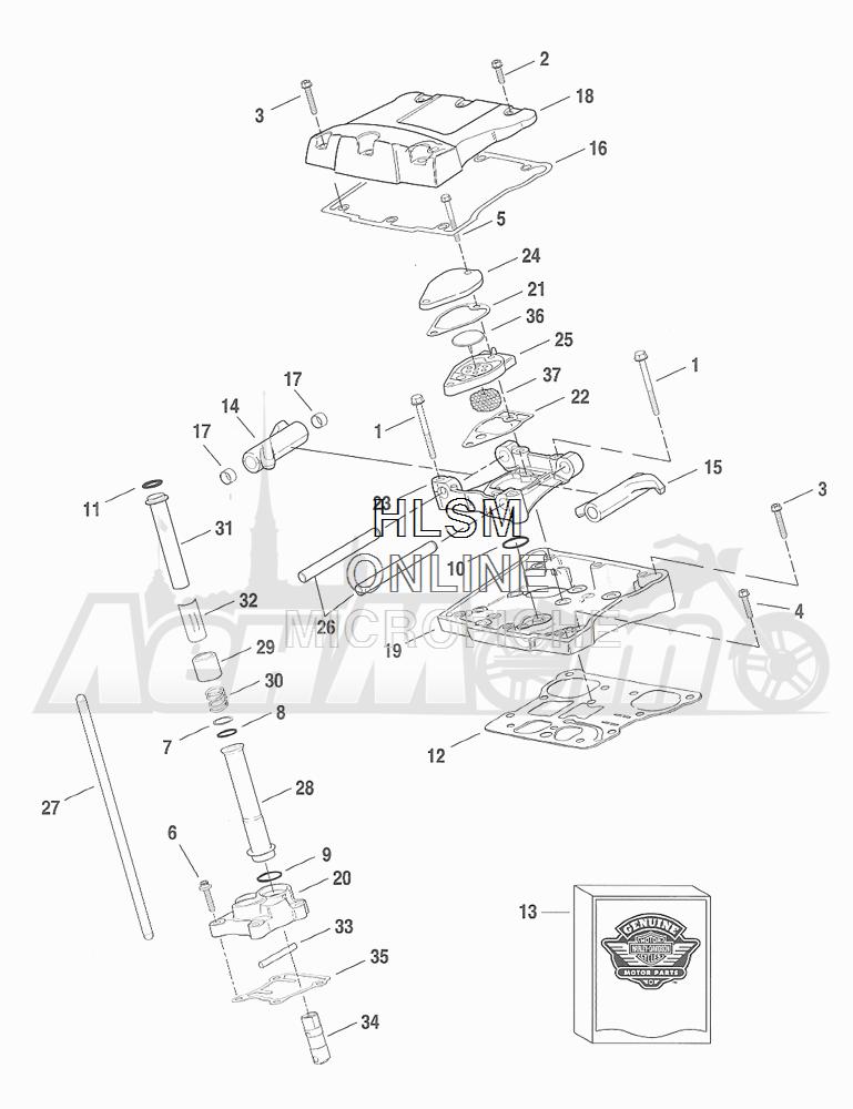 Запчасти для Мотоцикла Harley-Davidson 2001 FXDX DYNA® A SUPER GLIDE SPORT (GJ) Раздел: ROCKER ARM ASSEMBLY W/ PUSHRODS | коромысло (рокер) клапана в сборе вместе с толкатели