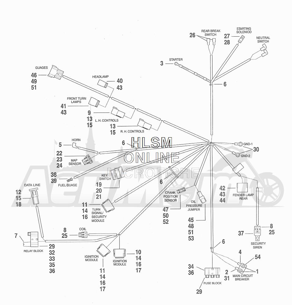 Запчасти для Мотоцикла Harley-Davidson 2001 FXDX DYNA® A SUPER GLIDE SPORT (GJ) Раздел: ELECTRICAL - WIRING HARNESS ASSEMBLY | электрика электропроводка коса в сборе