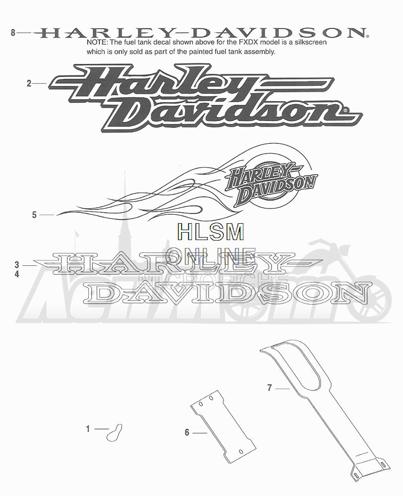 Запчасти для Мотоцикла Harley-Davidson 2001 FXDX DYNA® A SUPER GLIDE SPORT (GJ) Раздел: FUEL TANK DECALS | топливный бак наклейки