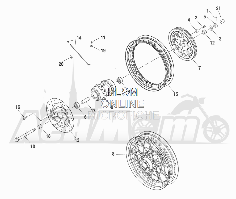 Запчасти для Мотоцикла Harley-Davidson 2001 FXDX DYNA® A SUPER GLIDE SPORT (GJ) Раздел: WHEEL - REAR (LACED) | заднее колесо (LACED)