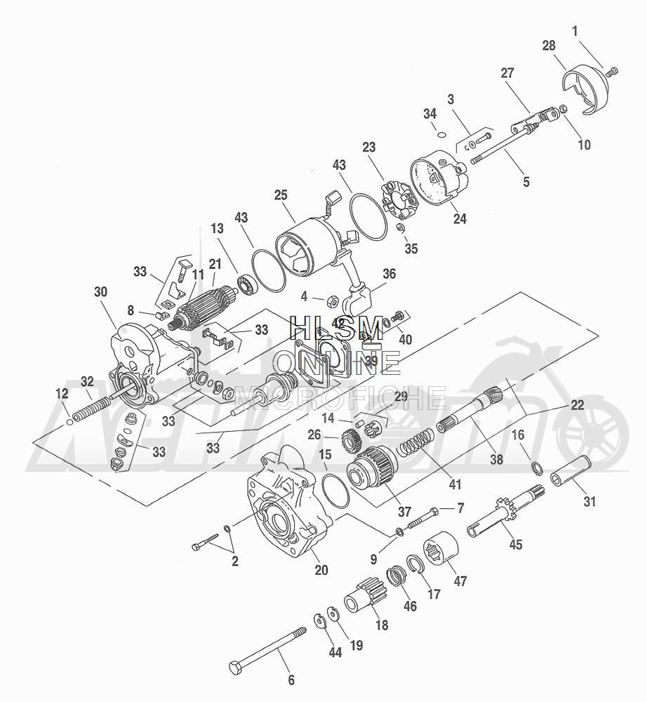 Запчасти для Мотоцикла Harley-Davidson 2001 FXDXT DYNA® SUPER GLIDE T-SPOT (GL) Раздел: ELECTRICAL - STARTER ASSEMBLY   электрика стартер в сборе