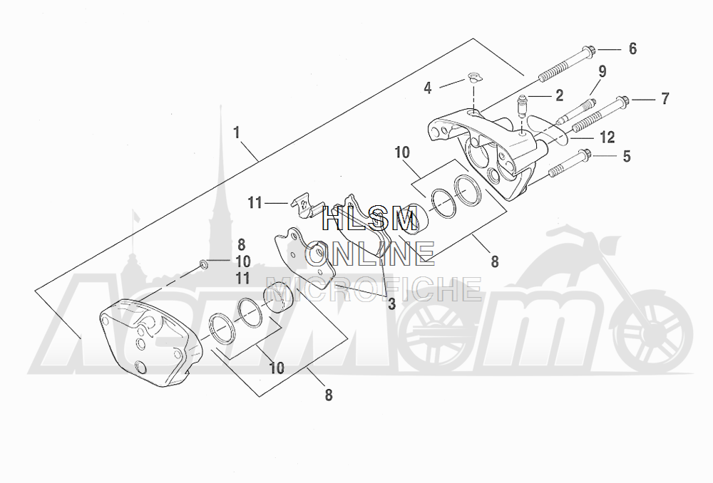 Запчасти для Мотоцикла Harley-Davidson 2001 FXDXT DYNA® SUPER GLIDE T-SPOT (GL) Раздел: BRAKE - FRONT BRAKE CALIPER ASSEMBLY | передний тормоз тормозной суппорт в сборе