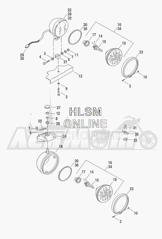 Запчасти для Мотоцикла Harley-Davidson 2001 FXDXT DYNA® SUPER GLIDE T-SPOT (GL) Раздел: HEADLIGHT ASSEMBLY | передняя фара в сборе