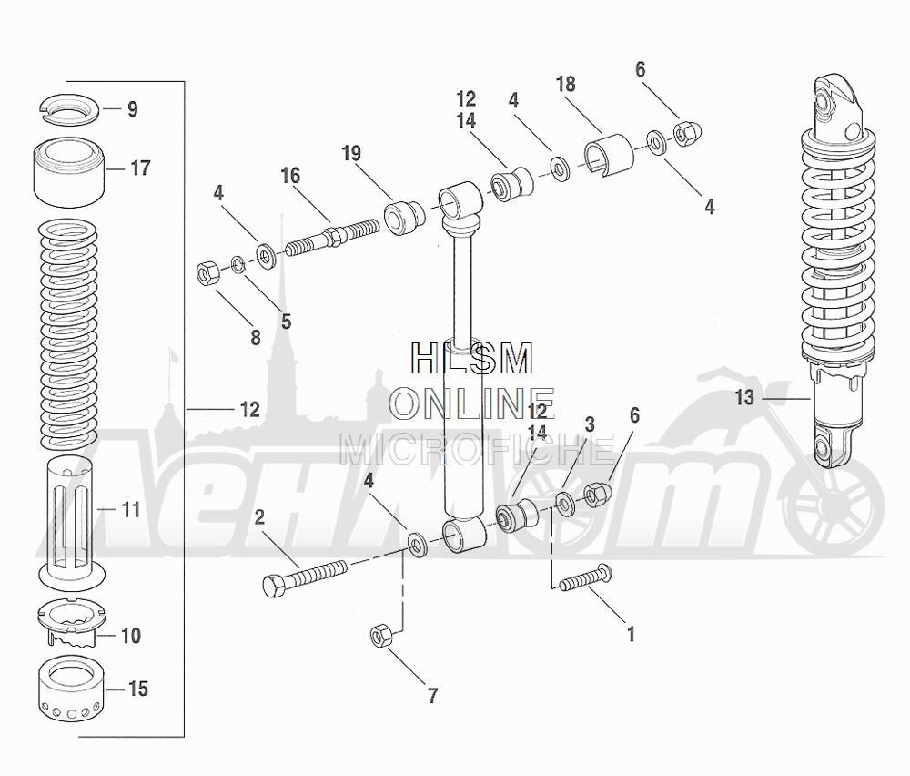Запчасти для Мотоцикла Harley-Davidson 2001 FXDXT DYNA® SUPER GLIDE T-SPOT (GL) Раздел: SUSPENSION - SHOCK ABSORBERS - HYDRAULIC | подвеска амортизаторы гидравлический