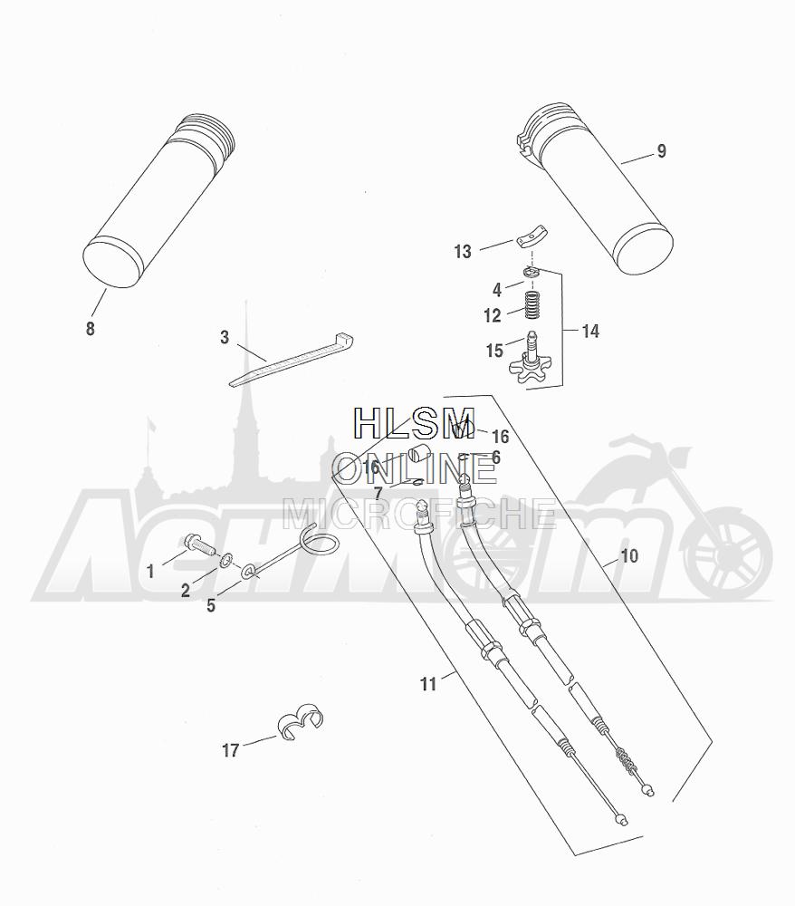 Запчасти для Мотоцикла Harley-Davidson 2001 FXDXT DYNA® SUPER GLIDE T-SPOT (GL) Раздел: THROTTLE CONTROL ASSEMBLY W/ GRIPS   дроссель управление в сборе вместе с ручки