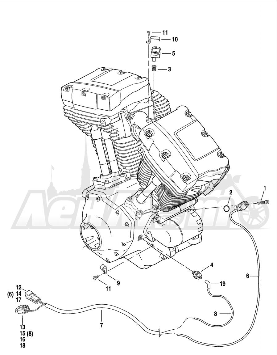 Запчасти для Мотоцикла Harley-Davidson 2001 FXDWG2 DYNA® WIDE GLIDE® Раздел: ENGINE SENSORS W/ SWITCHES | двигатель датчики вместе с выключатели, переключатели