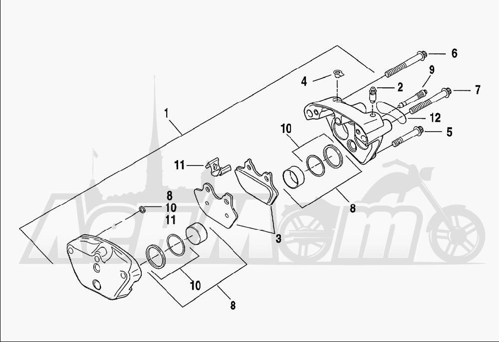 Запчасти для Мотоцикла Harley-Davidson 2001 FXDWG2 DYNA® WIDE GLIDE® Раздел: BRAKE - FRONT BRAKE CALIPER ASSEMBLY | передний тормоз тормозной суппорт в сборе