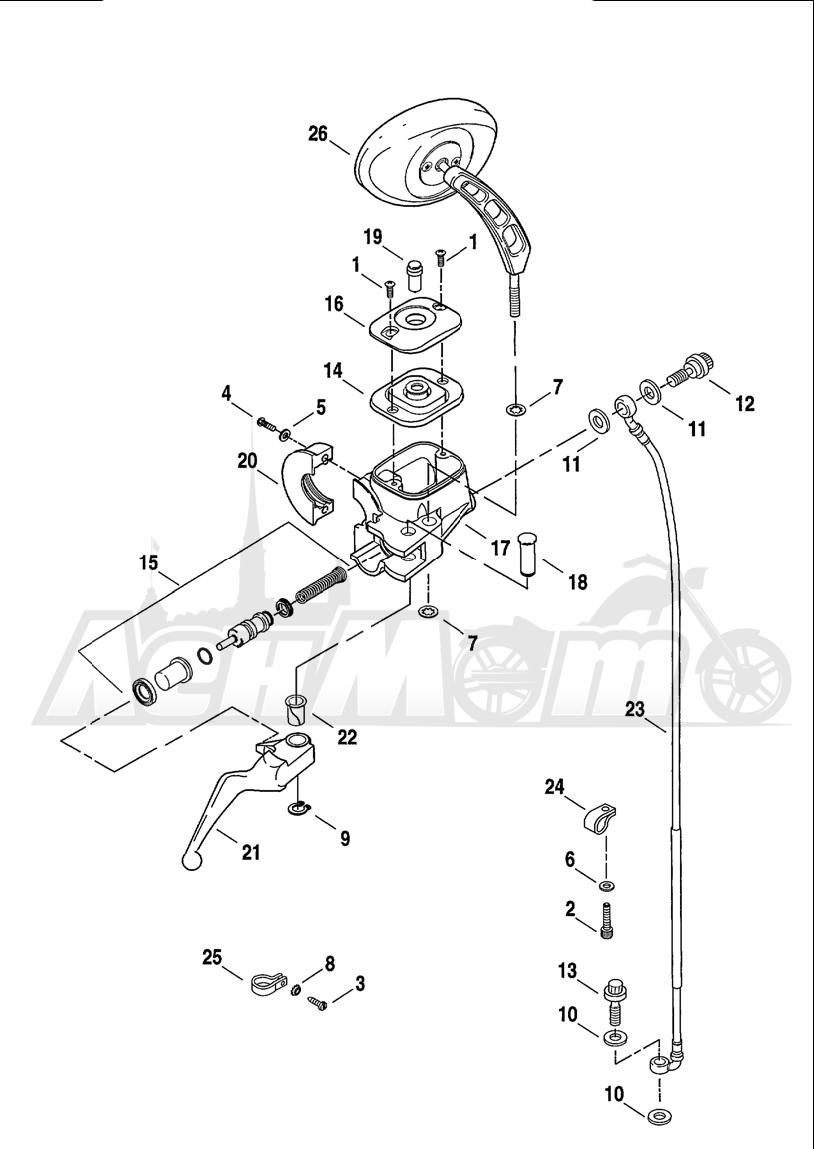 Запчасти для Мотоцикла Harley-Davidson 2001 FXDWG2 DYNA® WIDE GLIDE® Раздел: BRAKE - FRONT BRAKE CYLINDER ASSEMBLY W/ LEVER | передний тормоз тормоза цилиндр в сборе вместе с рычаг