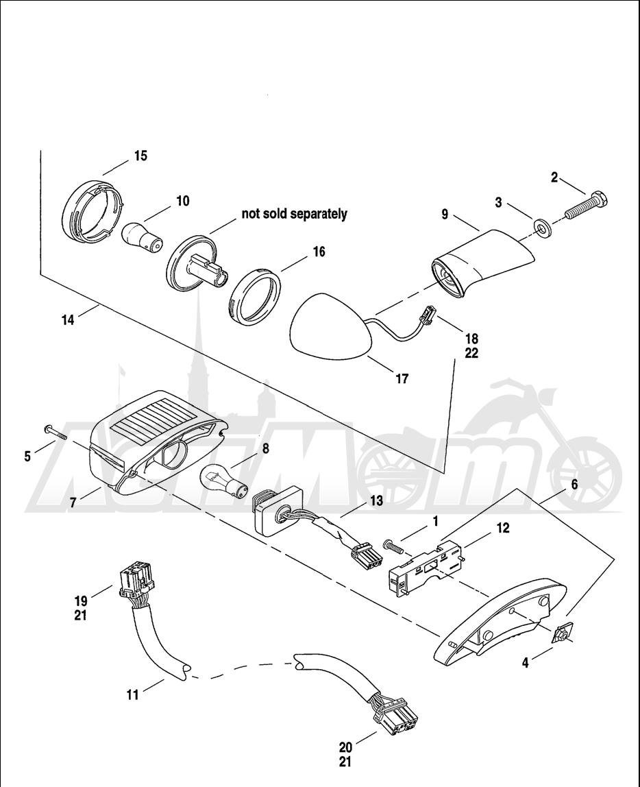 Запчасти для Мотоцикла Harley-Davidson 2001 FXDWG2 DYNA® WIDE GLIDE® Раздел: TAIL LAMP W/ REAR TURN SIGNALS | TAIL лампа вместе с зад сигналы поворота