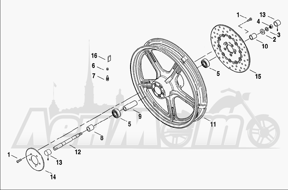 Запчасти для Мотоцикла Harley-Davidson 2001 FXDWG2 DYNA® WIDE GLIDE® Раздел: WHEEL - FRONT (CAST) | переднее колесо (CAST)