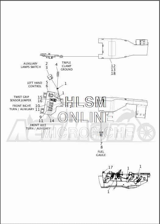 Запчасти для Мотоцикла Harley-Davidson 2019 FLHR ROAD KING (FB) Раздел: WIRING HARNESS_MAIN - ABS - 1 | электропроводка главный жгут ABS 1