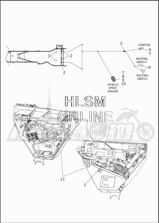 Запчасти для Мотоцикла Harley-Davidson 2019 FLHR ROAD KING (FB) Раздел: WIRING HARNESS_MAIN - ABS - 6 | электропроводка главный жгут ABS 6