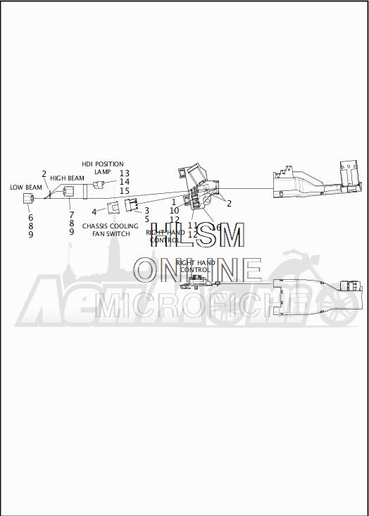 Запчасти для Мотоцикла Harley-Davidson 2019 FLHR ROAD KING (FB) Раздел: WIRING HARNESS_MAIN - NON ABS - 2 | электропроводка главный жгут не ABS 2