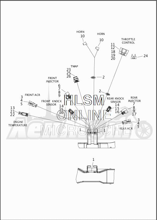 Запчасти для Мотоцикла Harley-Davidson 2019 FLHR ROAD KING (FB) Раздел: WIRING HARNESS_MAIN - NON ABS - 3 | электропроводка главный жгут не ABS 3