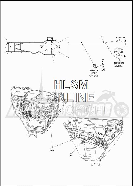 Запчасти для Мотоцикла Harley-Davidson 2019 FLHR ROAD KING (FB) Раздел: WIRING HARNESS_MAIN - NON-ABS - 6 | электропроводка главный жгут не ABS 6