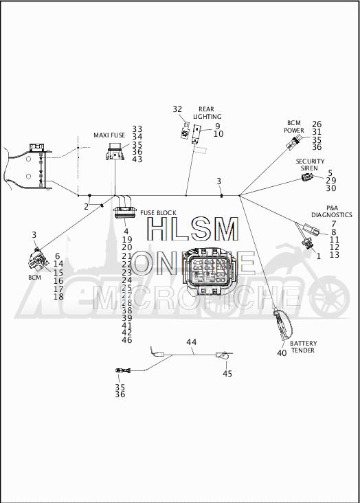 Запчасти для Мотоцикла Harley-Davidson 2019 FLHR ROAD KING (FB) Раздел: WIRING HARNESS_MAIN - NON-ABS - 8 | электропроводка главный жгут не ABS 8