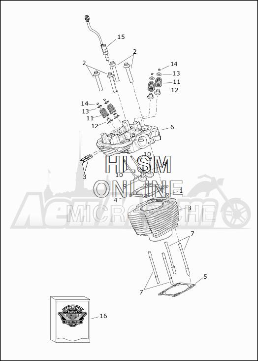 Запчасти для Мотоцикла Harley-Davidson 2019 FLHR ROAD KING (FB) Раздел: CYLINDERS W/HEADS AND VALVES | цилиндры вместе с головки и клапаны