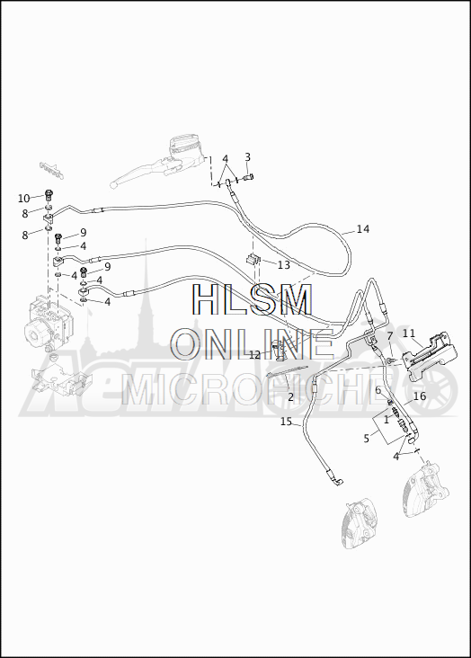 Запчасти для Мотоцикла Harley-Davidson 2019 FLHR ROAD KING (FB) Раздел: BRAKE - FRONT LINE (ABS) | передний тормоз магистраль (ABS)